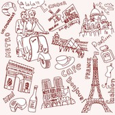 Vector Line Drawing Of Paris And London