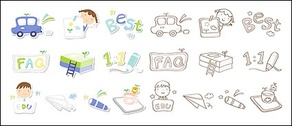 Cute icon series vector material-3
