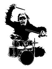 Love of music gorilla drummer