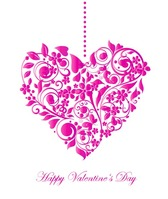 Valentine Card with Floral Heart Shape
