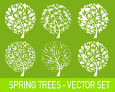 Spring trees vector set