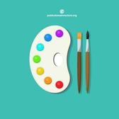 PALETTE WITH PAINT BRUSHES VECTOR.ai