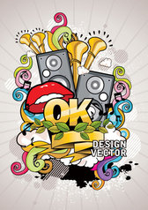 The Trend Of Music Posters 01 - Vector Fashion Speakers Ok Ribbons