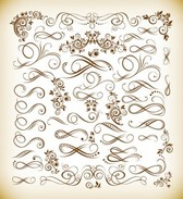 Vintage Calligraphic Vector Illustration Set