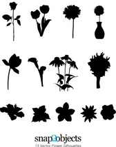 13 Vector Flower Silhouettes
