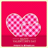 Retro Valentine's Card Fabric Hear Design