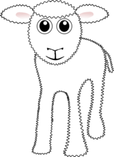 Funny White Lamb Cartoon