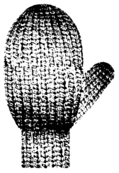 Mitten With Knitted Texture