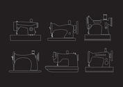 Outlined Vintage Sewing Machine Vectors