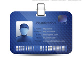 Name tag icon, blue identification card (PSD)