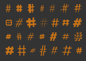 Various Hashtag Vectors Set