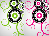 Green vs pink vector objects