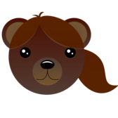 Brown bear with pony tail