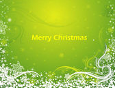Green Floral Swirls & Snowflakes Christmas Background