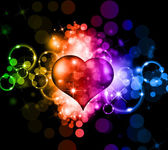 Fluorescent Colorful Valentine Background with Sparkles