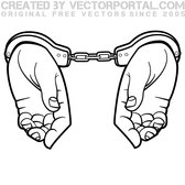 HANDS IN HANDCUFFS VECTOR GRAPHICS.eps