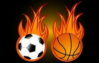Two Sport Balls with Flame