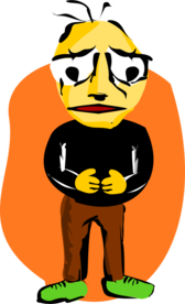 Sad man with open stance