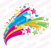 The trend of three-dimensional colorful stars theme vector m