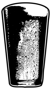 Pint of Beer Detailed Black and White