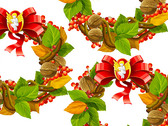 Vector Christmas, Christmas Decorations, Leaves, Walnuts, Chinese Hawthorn