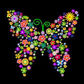Composed of colorful flowers, butterflies