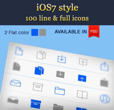 100 Flat iOS7 Line Icons Pack