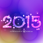 Decorative 2015 Text on Colorful Background