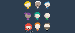 9 Cartoon Expressive Avatar Characters Set