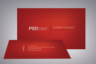 Red color business card template
