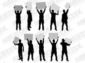 People silhouettes vector material raised placards Action