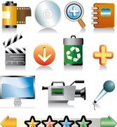 Set of icons for multimedia, movie etc