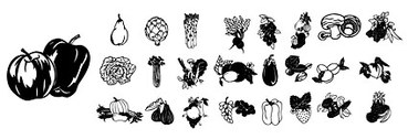 Black And White Vector Graphic Fruits And Vegetables