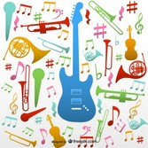 Musical instruments vector patter