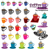 Coffee Time Clipart: 31 Cups Vector Set