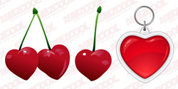 Heart-Shaped Vector Graphic Cherries And Keychain
