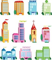 Edificio Vector Icon Set