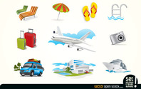 Holiday Travel Elements Icons Vector Free