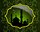 Abstract mosque with green creative artwork background