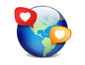Social Dating World with Speech Bubbles Icon