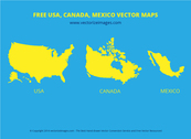 USA, Canada & Mexican Flat Map