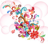 Colorful Abstract Floral & Swirls on Bubbles