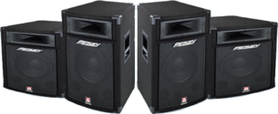 black Peavey stage speakers PSD