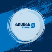 Blue paint vector grunge background