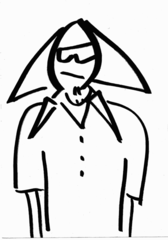 Cartoon style person with triangle hair and sunglasses