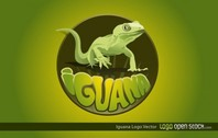 Cool Green Vector Iguana Logo