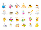 Steaming Coffee Cup Vector Icon Set