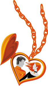 Heart-shaped Lovers Necklace Vector Of Material Heart-shaped