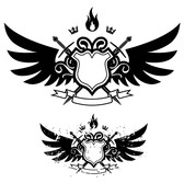 Wings, shield, sword, fire combination of banner