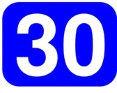Blue Rounded Rectangle With Number 30